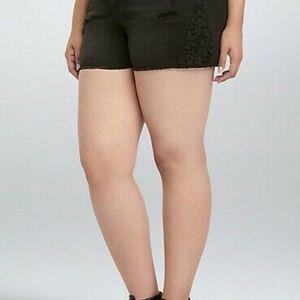 Torrid Womens Shorts Size 12 Denim Blk Crochet